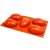 "Egg Shape Silicone Mould 4x1.3"" 5 Cavity"