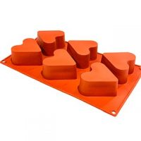 Heart Flat Silicone Mould 3x1.5 6 Cavity