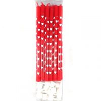 Red with White Hearts Candles